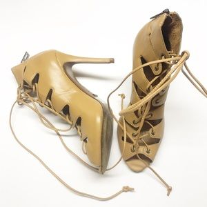 Schutz Lace Up Heeled Sexy Caged Neutral Sandals